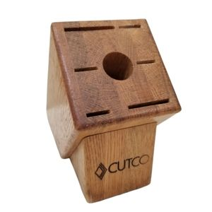 Cutco Knife Block Golden Brown Wood USA 7 Slot